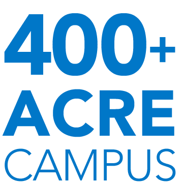 Over 400 acres of campus