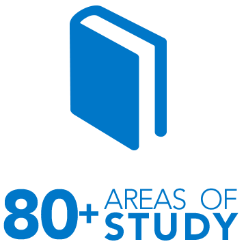Over 80 areas of study