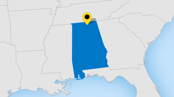 map showing Huntsville's location in Alabama