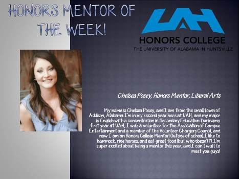 Honors Mentor of the Week Chelsea Posey1