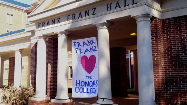 UAH's Franz Hall with a colorful welcome banner in the front entrance