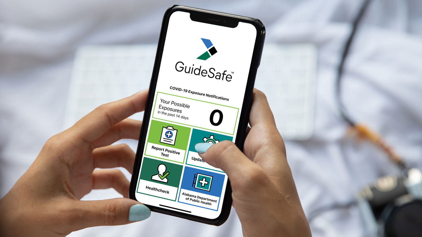 person using the guidesafe app on a cell phone