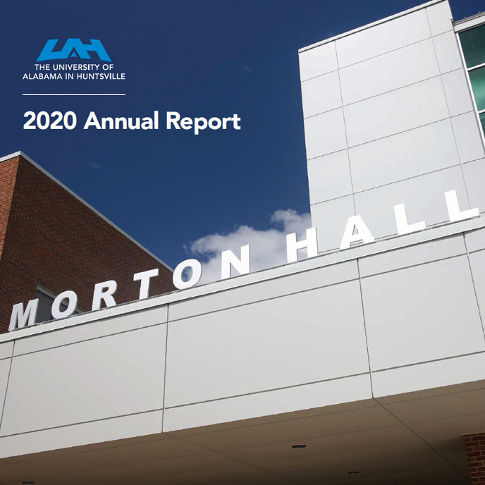 UAH annual report cover page entrance to morton hall