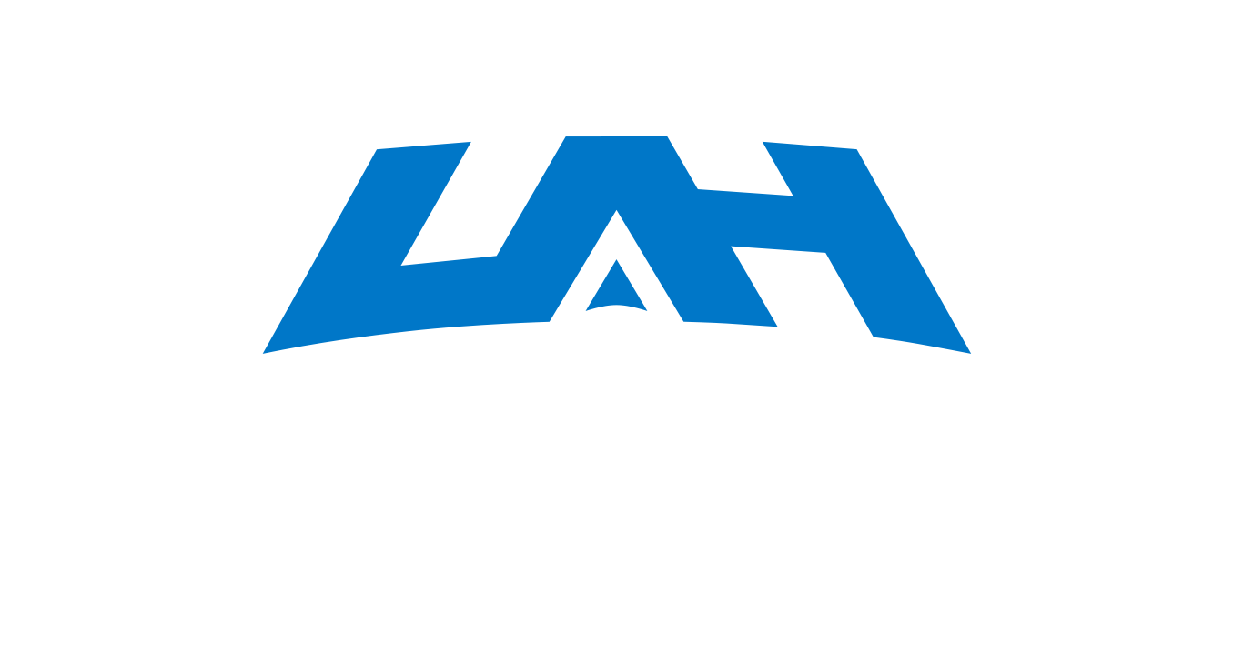 UAH Logo Black Background Blue and White Type
