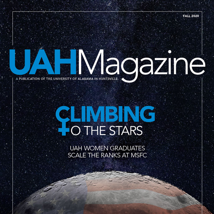 UAH magazine cover of the earth in outer space