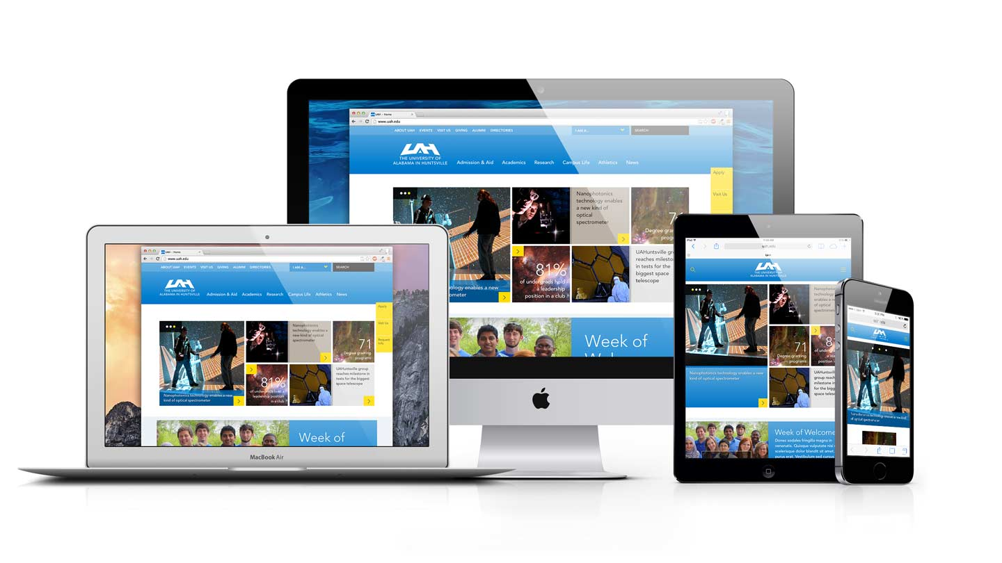 UAH homepage on various screen sizes