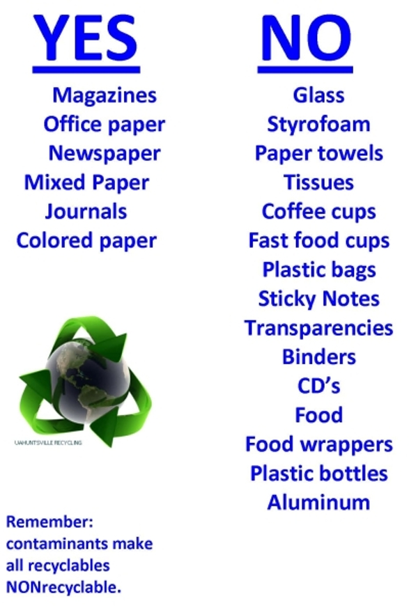 Yes: Magazines, Office Paper, Newspaper, Mixed Paper, Journals, Colored Paper; No: Glass, Styrofoam, Paper towels, Tissues, Coffee cups, Fast food cups, plastic bags, sticky notes, transparencies, binders, CD's, food, food wrappers, plastic bottles, aluminum