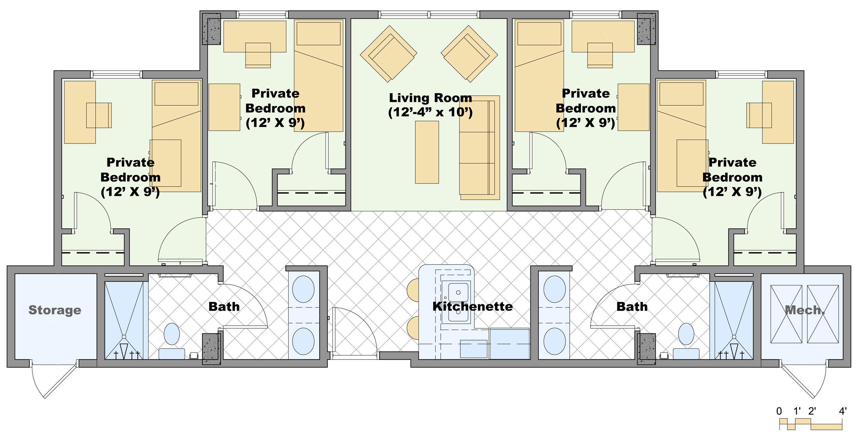 Four Bedroom House Floor Plans White House Private Residence Floor Plan
