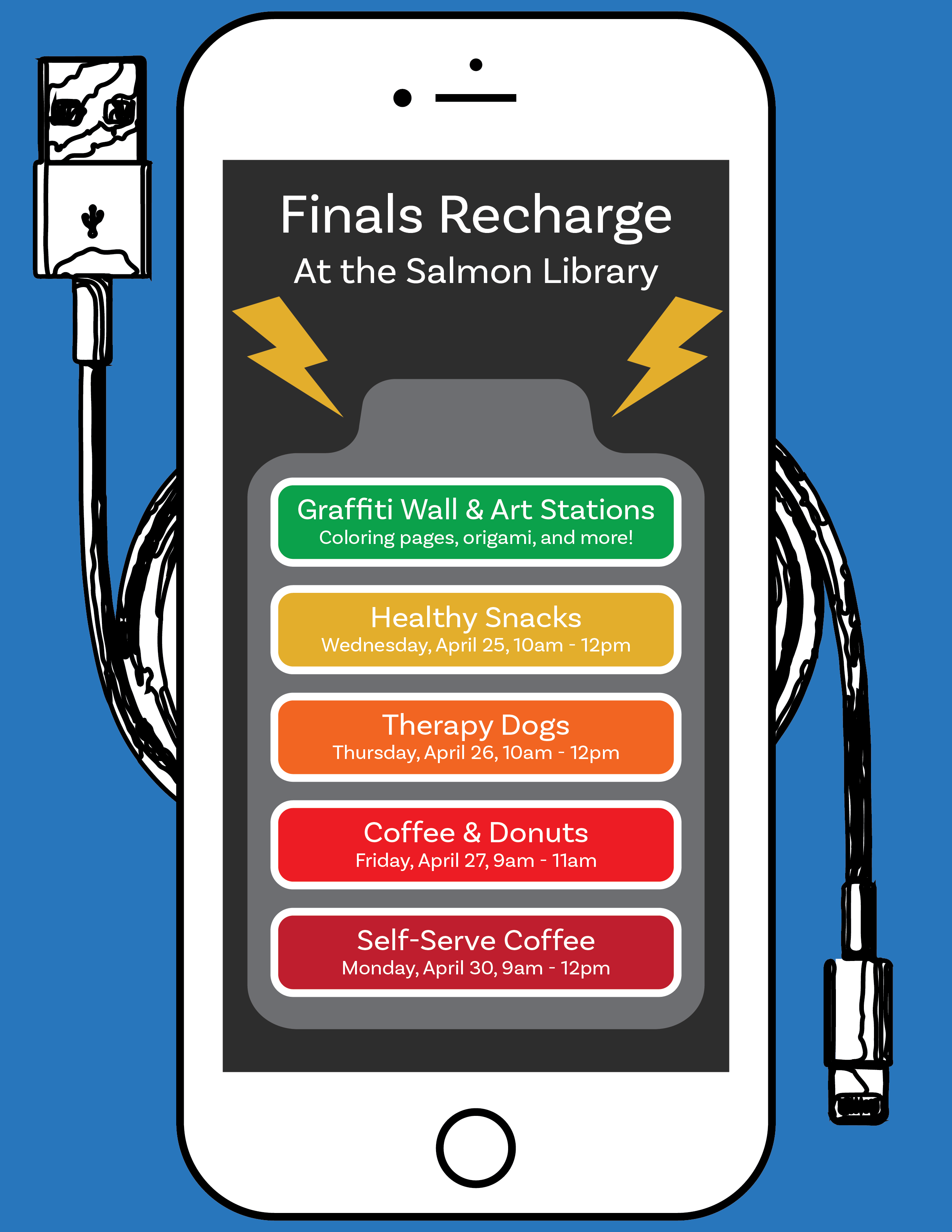 finals recharge spring 2018 events flyer for screen