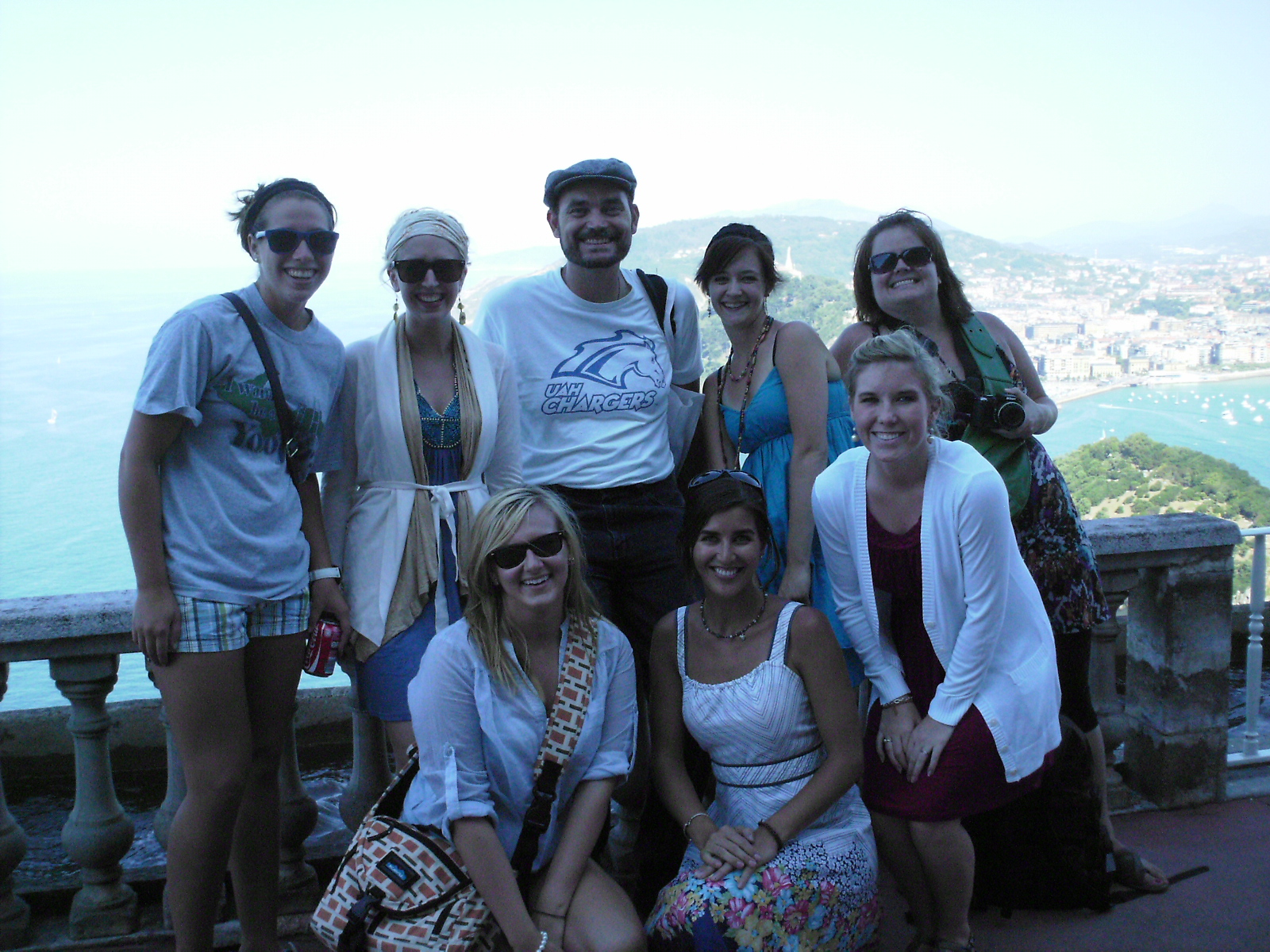 Groups of students in San Sebastian, Spain