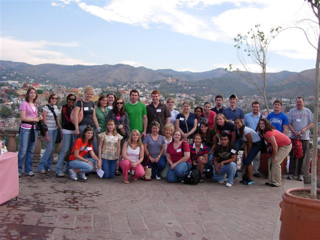 Big group of students in Guanajuato, Mexico.