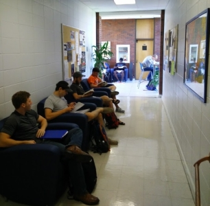 students in foyer