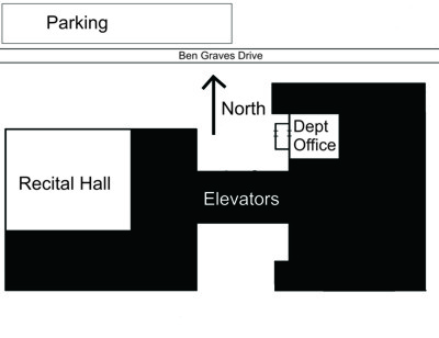 Map of Music Office, Recital Hall, and Parking