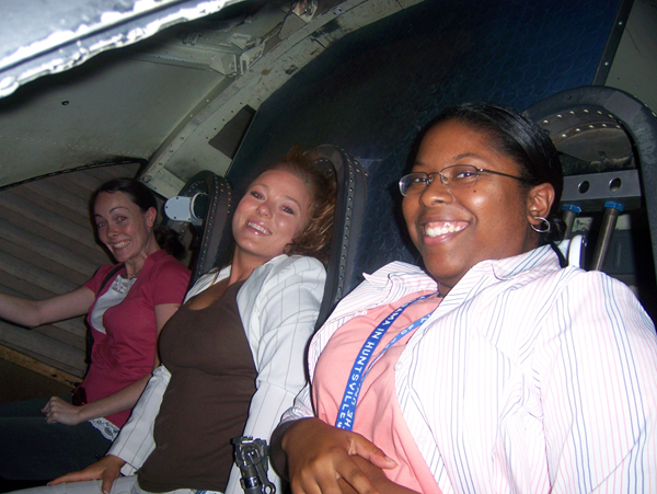 Students in space shuttle.