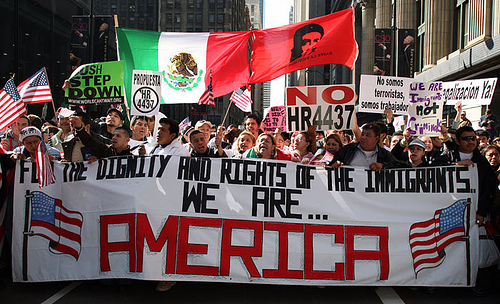 """We Are America"" - peaceful protest regarding immigration policies"