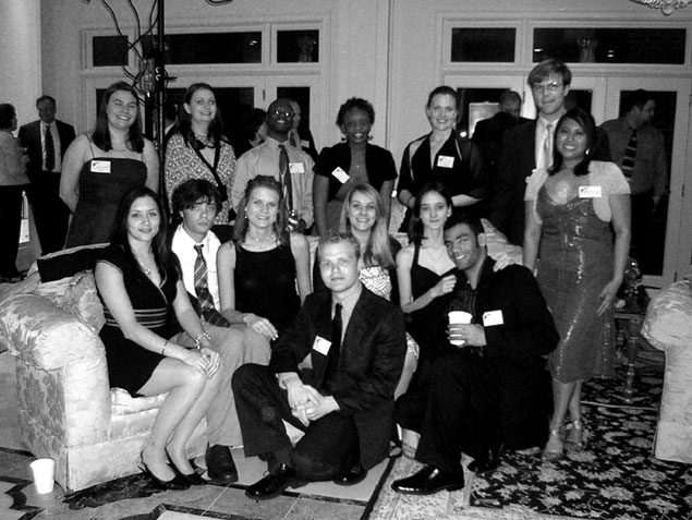 Group of students at a fundraiser banquet