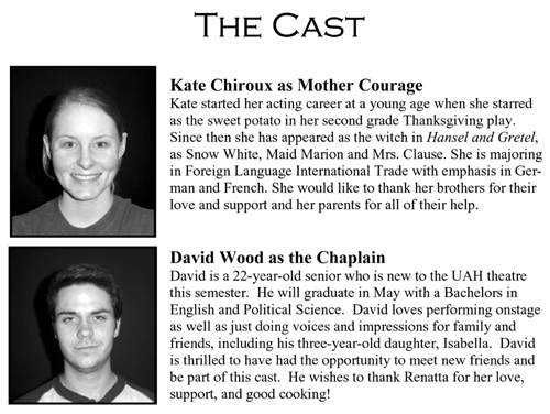 Mother Courage and Her Children - Cast Part 1
