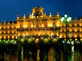 Central Plaza in Salamanca, Spain at night.