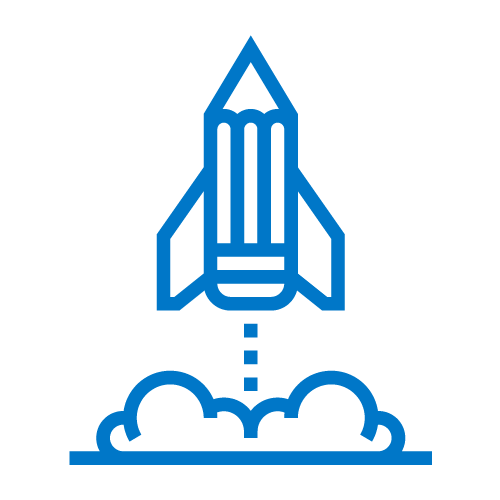 rocket pencil icon blue