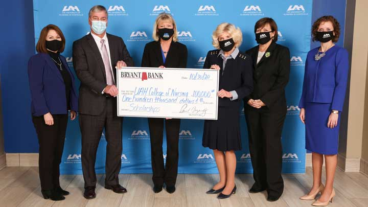 Bryant Bank giving a $100,000 donation to the college of nursing.