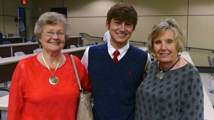 Landon Dutton, a graduate teaching assistant in the Learning and Technology Resource Center with his two grandmothers:  Janice Letson and Shelby Dutton.