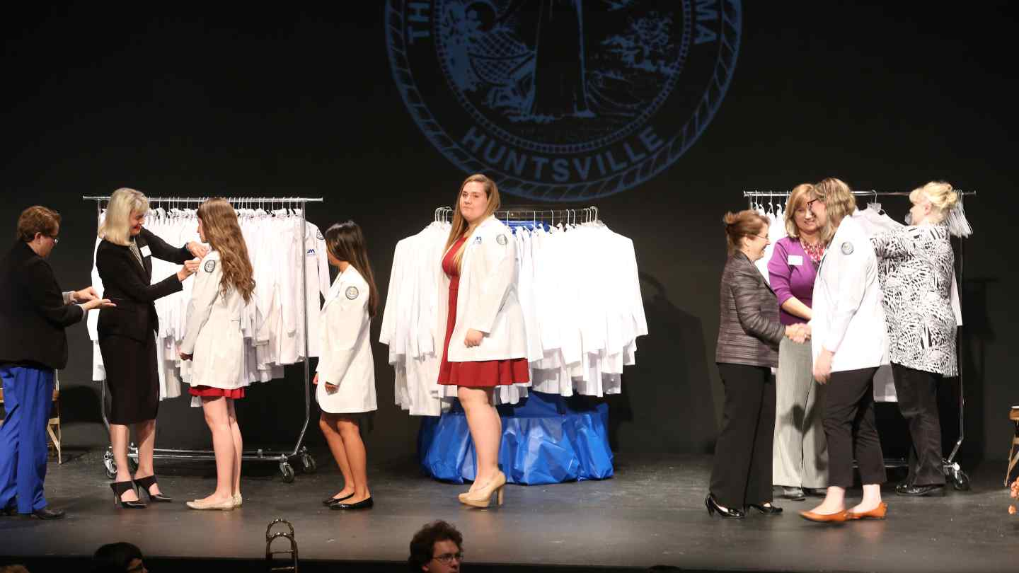 Dean Marsha H. Adams welcomed 115 new fall 2015 nursing students during the inaugural White-Coat Ceremony.