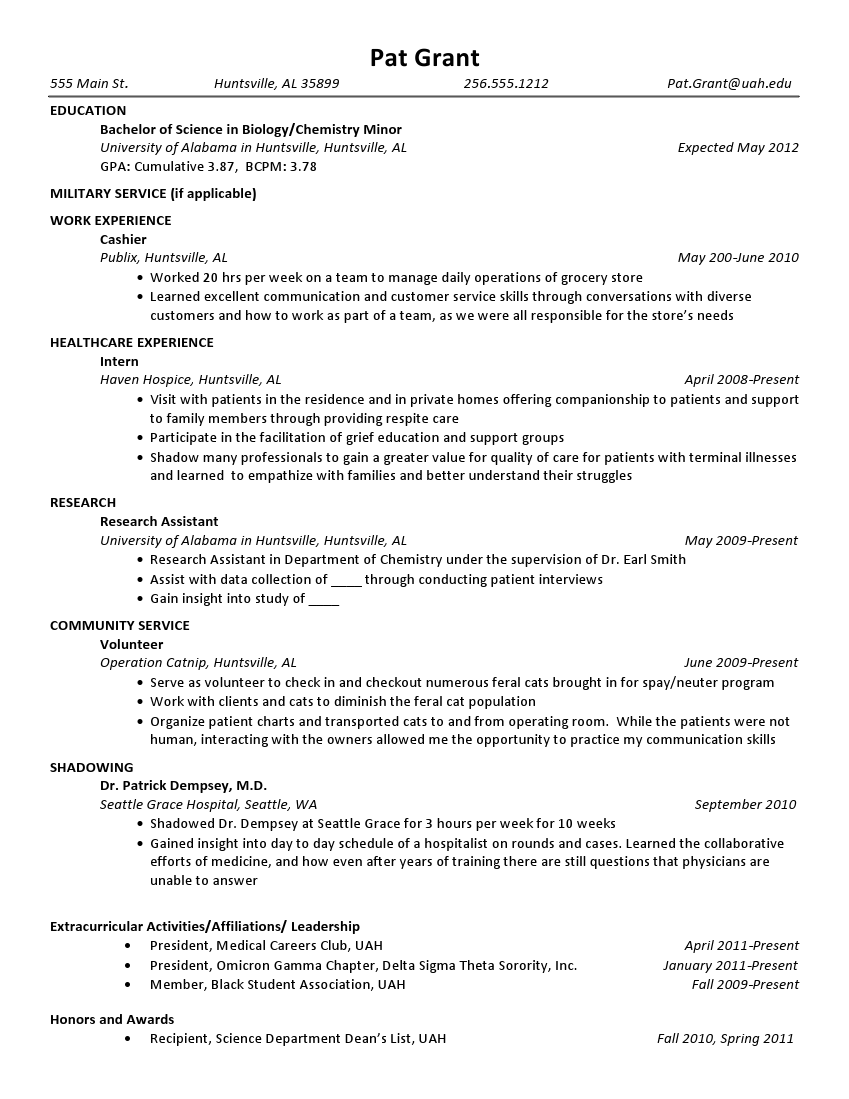Pat Grant Example PreHealth Resume
