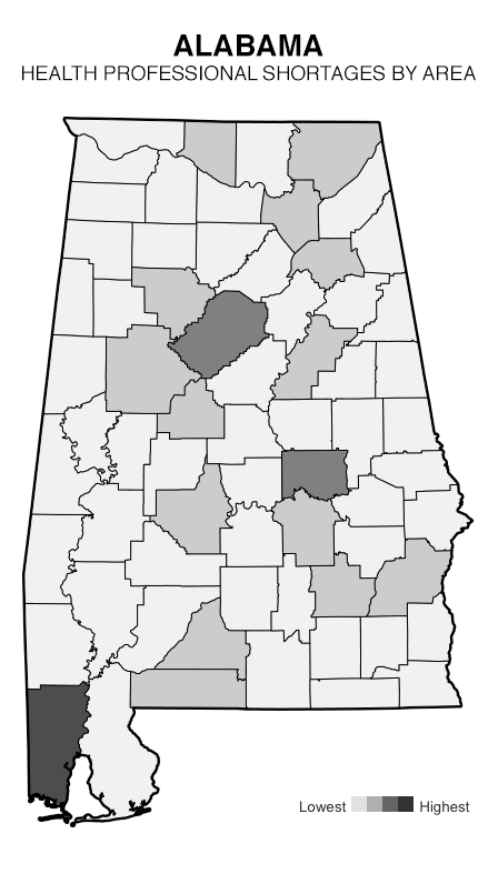 Health Professional Shortage Areas by Geographic Area - Alabama