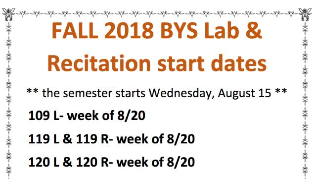 Fall 2018 biological Science lab start dates