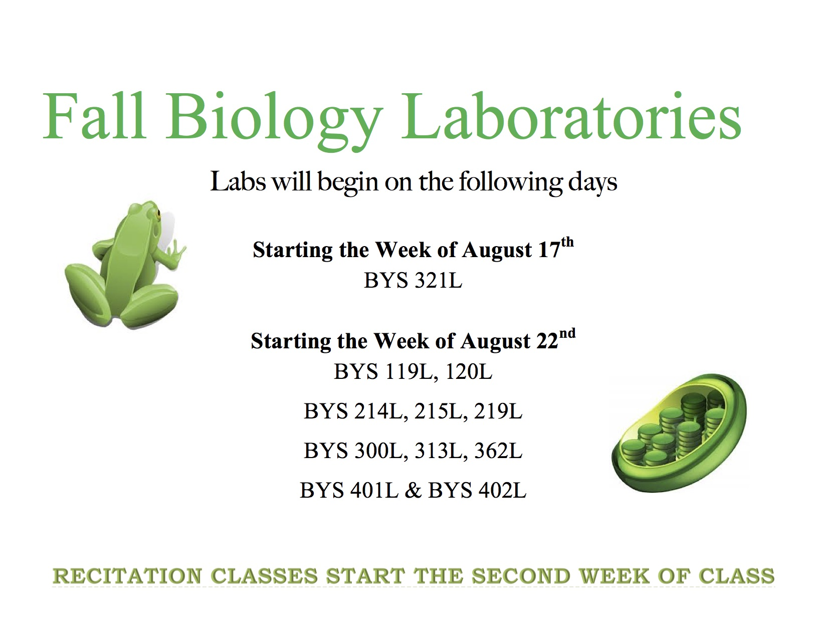 fall biology laboratories start 1