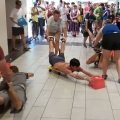 UAH students playing hungry hungry hippos