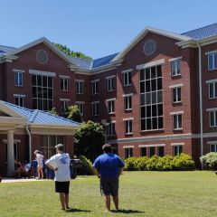 UAH honors students playing lawn games