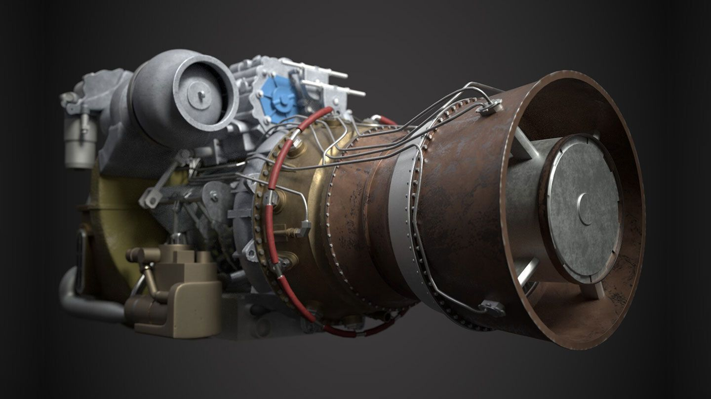 a computer graphic of the rear view of a GE T700-701D Turboshaft Engine