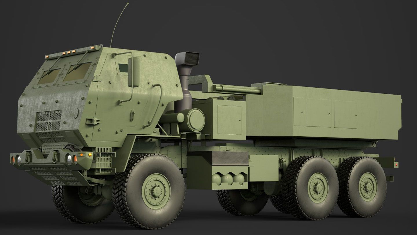 computer graphic of a side view of a brown armored Lockheed Martin M142 HIMARS military missle launching vehicle
