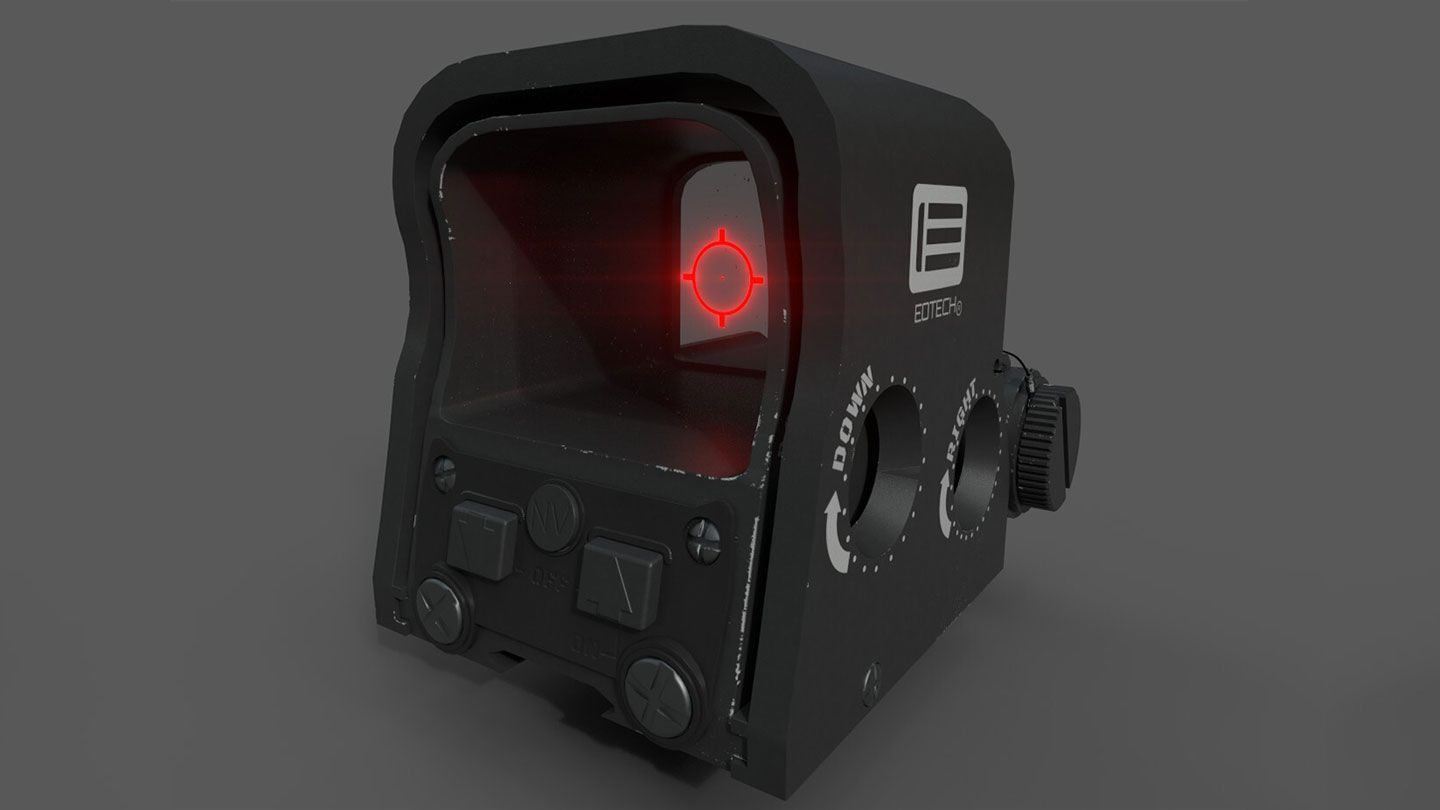 computer graphic of the front angled view of a EOTECH XPS2 Holographic targeting Sight