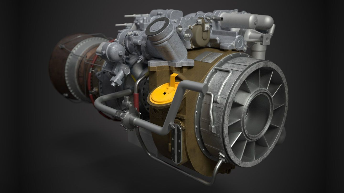 a computer graphic of the front view of a GE T700-701D Turboshaft Engine