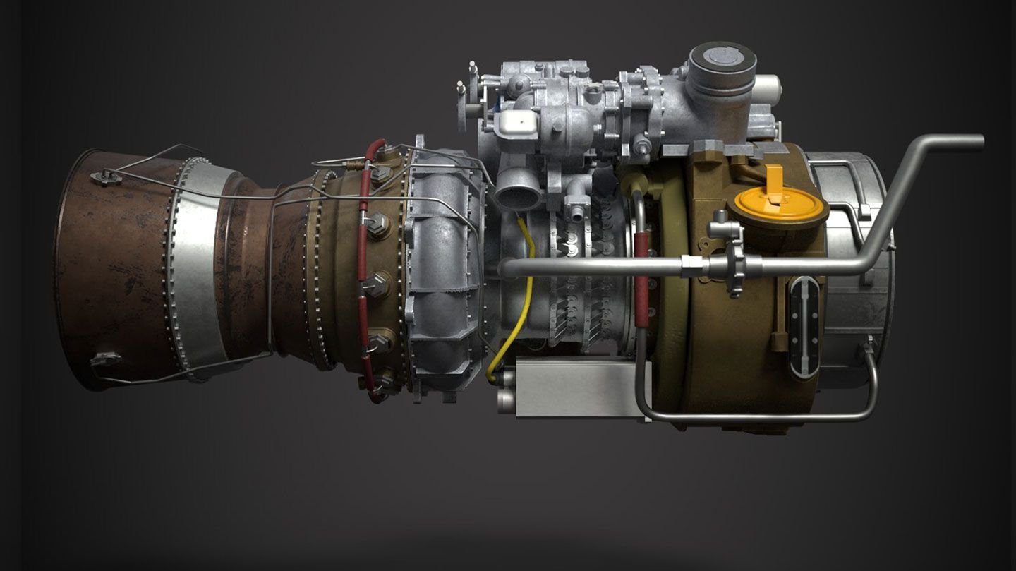 a computer graphic of the side view of a GE T700-701D Turboshaft Engine