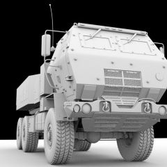 computer ambient occlusion render of a front view of a brown armored Lockheed Martin M142 HIMARS military missle launching vehicle