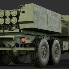 computer graphic of the rear view of a brown armored Lockheed Martin M142 HIMARS military missle launching vehicle