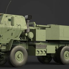 computer graphic of the side view of a brown armored Lockheed Martin M142 HIMARS military missle launching vehicle