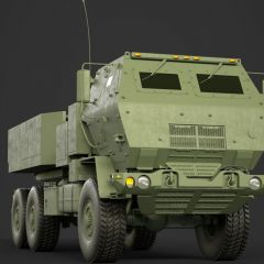 computer graphic of the front view of a brown armored Lockheed Martin M142 HIMARS military missle launching vehicle