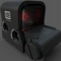 computer graphic of the side view of a EOTECH XPS2 Holographic targeting Sight