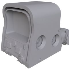 computer graphic of the front angled view of an untextured EOTECH XPS2 Holographic targeting Sight