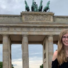 A UAH student visits the Brandenburg Gate in Berlin