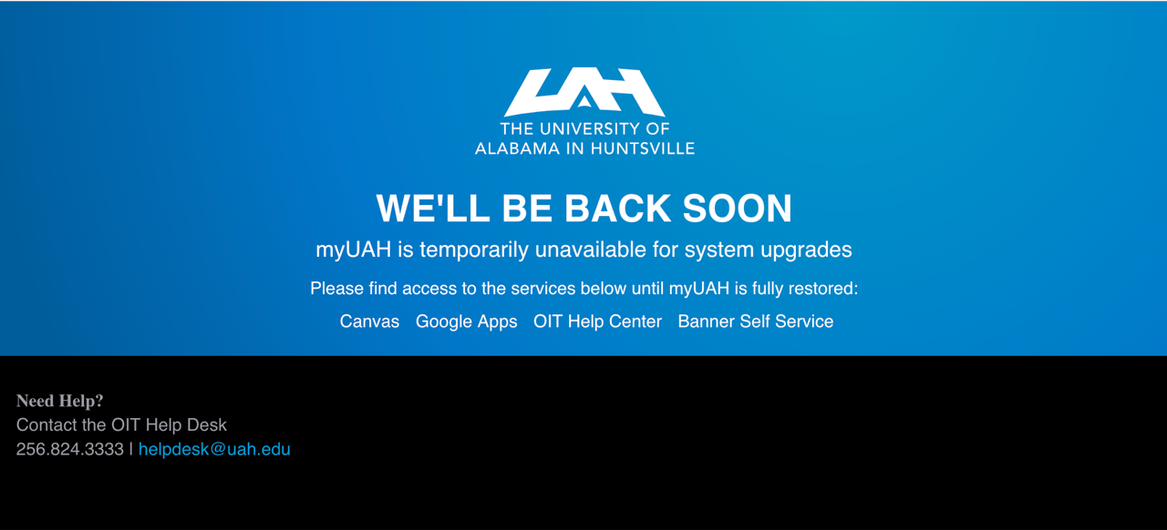 myUAH is temporarily unavailable for system updates
