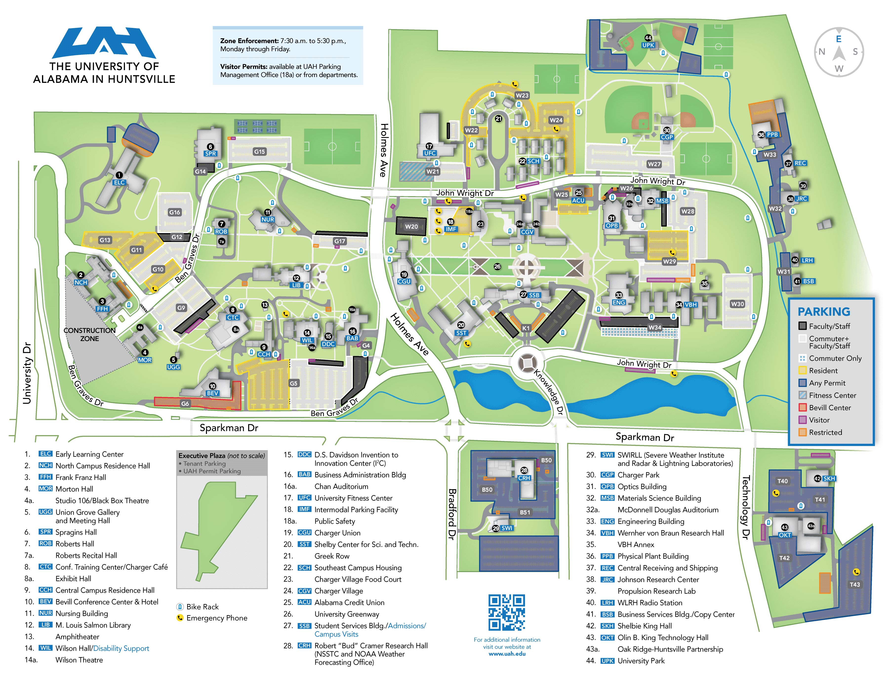Updated UAH Campus Parking Map