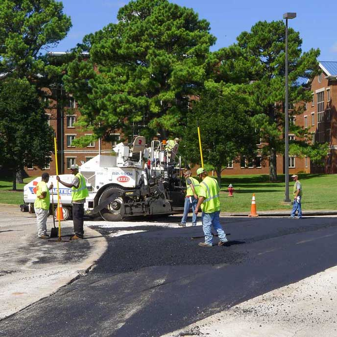 Road construction on campus.