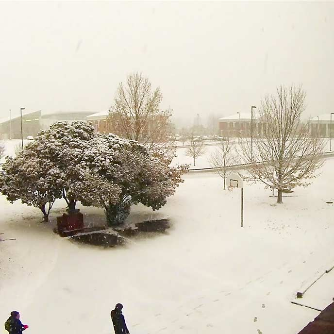 Watch campus transform into a winter wonderland in this time-lapse video of Wednesday's snowstorm
