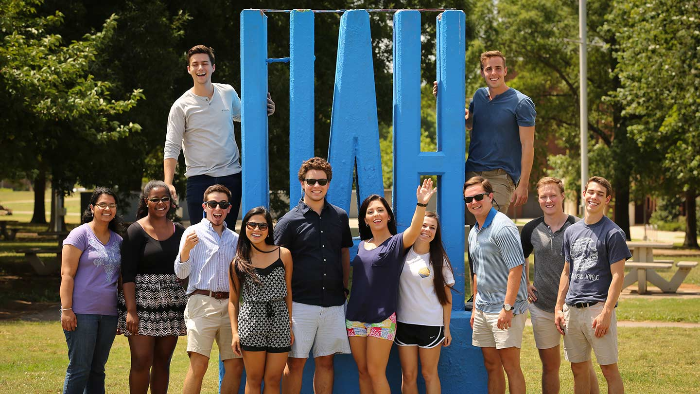 Students at UAH sign at the Conference Training Center