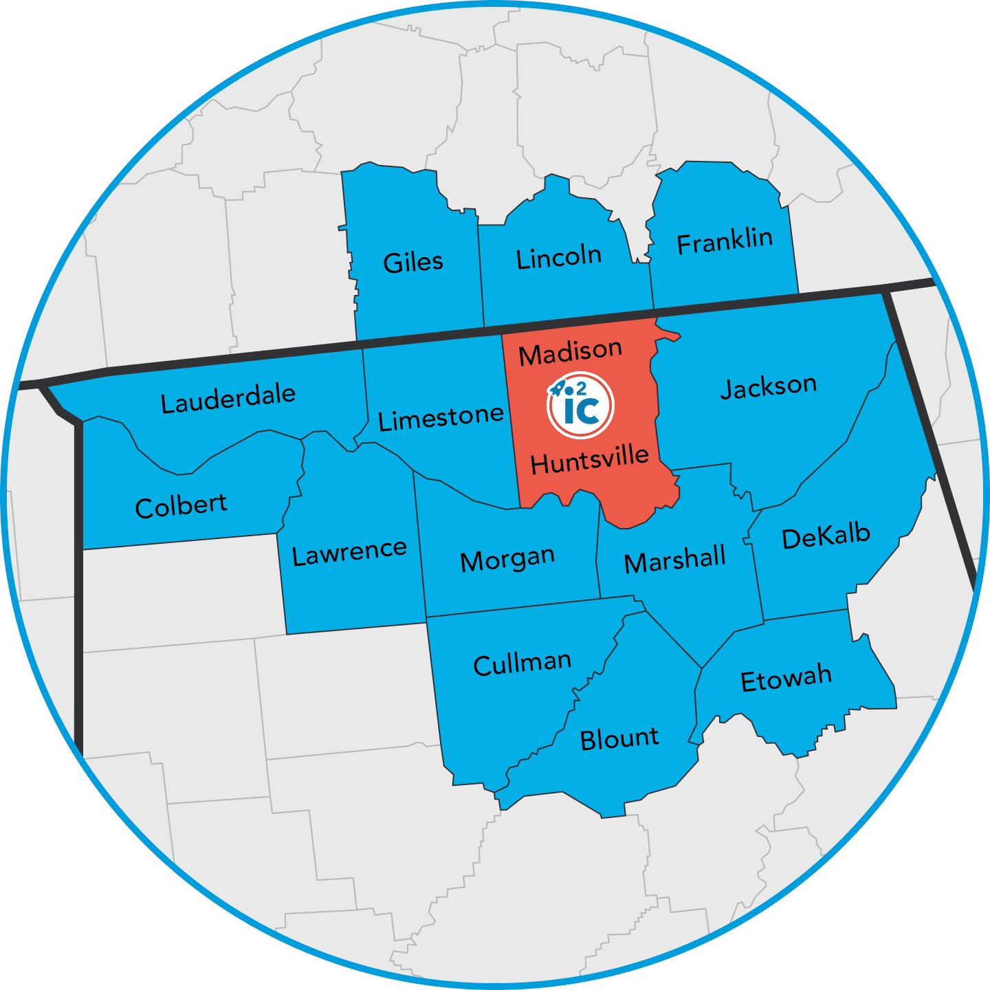 Map showing the innovation region of Northern Alabama and South-Central Tennessee